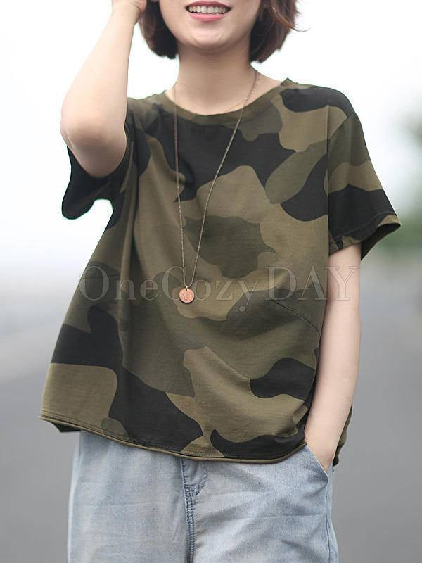 Loose Camouflage Cotton T-Shirts