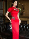 Red Embroidered Long Cheongsam Dress