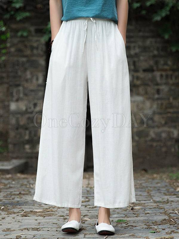 Ramie Cotton Loose Straight Wide-Leg Pants
