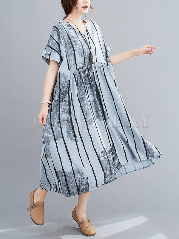 Original Striped V-Neck Shirt Dress