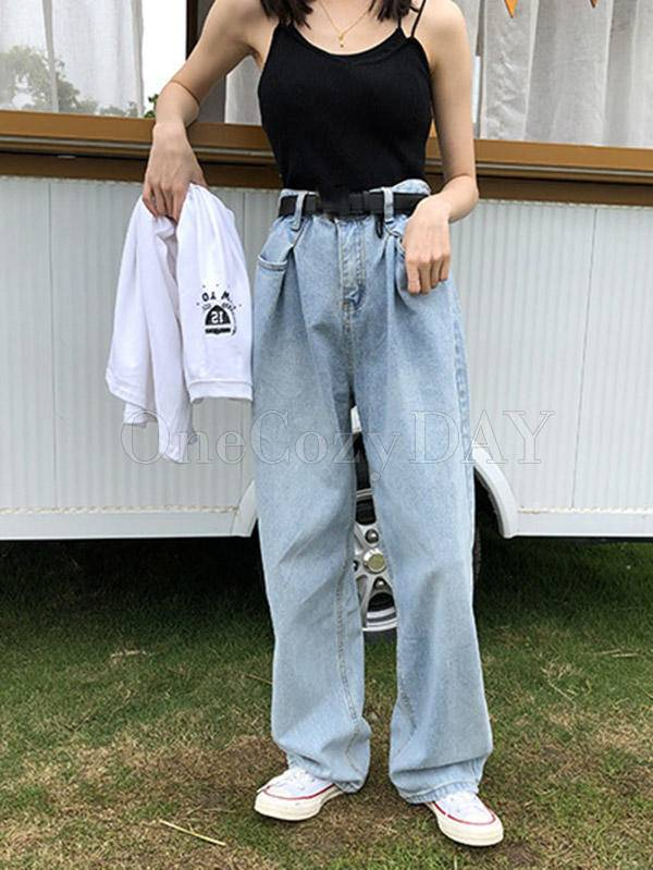 Empire Pleated Loose Jeans Wide-Leg Pants