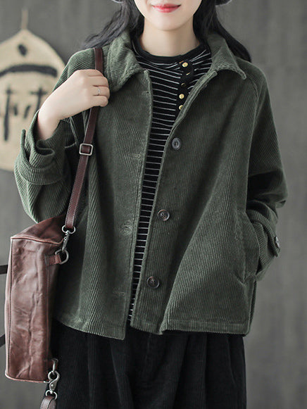 Artistic Retro Loose Casual Corduroy Coat