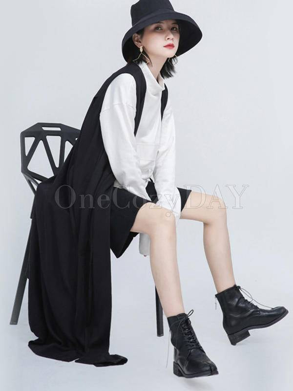 Black Sleeveless Loose Long Vest