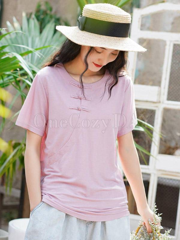 Solid Loose Button Vintage T-Shirt
