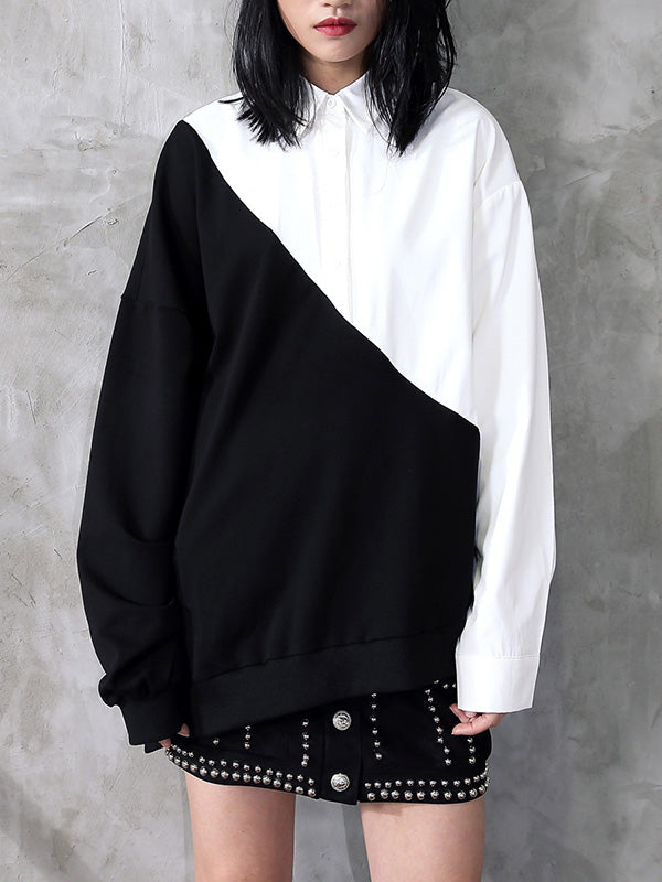 Casual Black And White Contrast Shirt