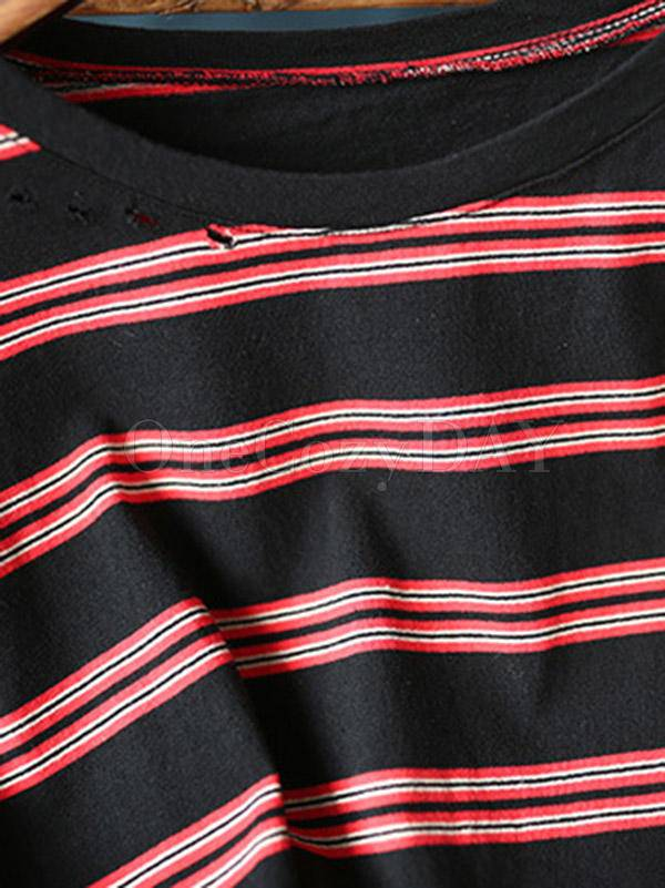Loose Striped Round Neck Hollow T-Shirt