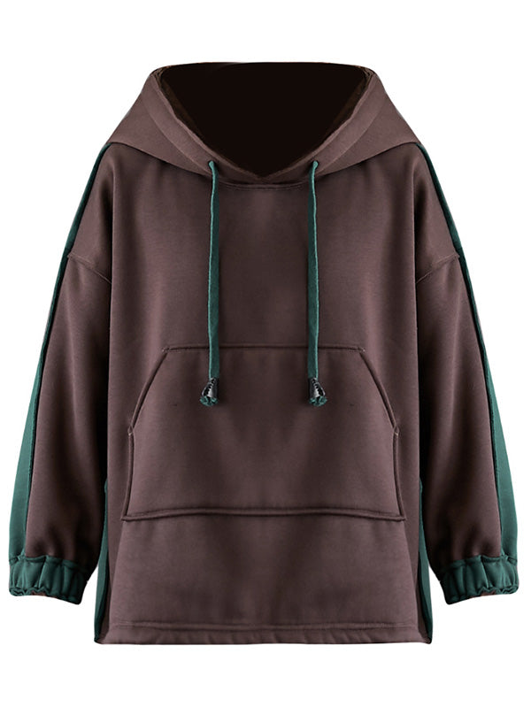 Loose Casual Thickening Stitching Hoodie