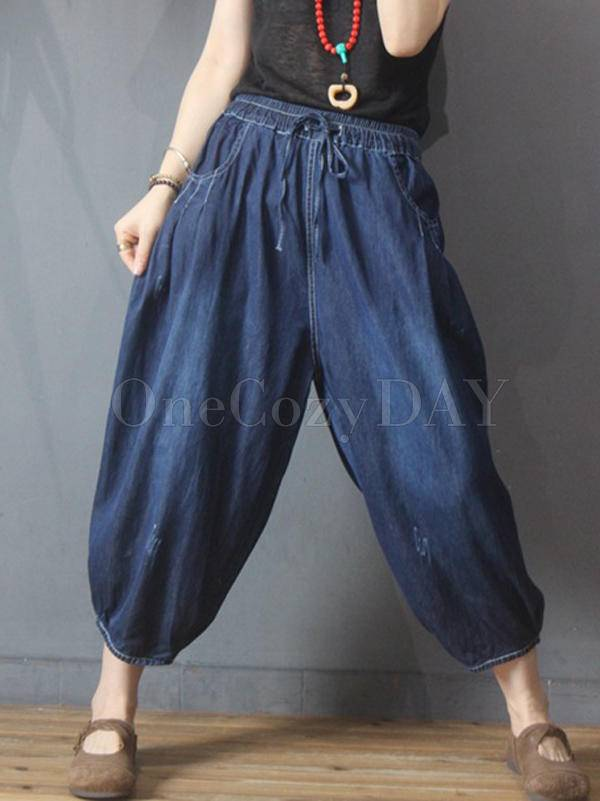 Casual Solid Drawstring Capri-Pants Bottoms