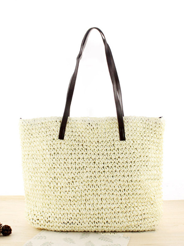 Simple Solid Hand-woven Straw Shoulder Bag