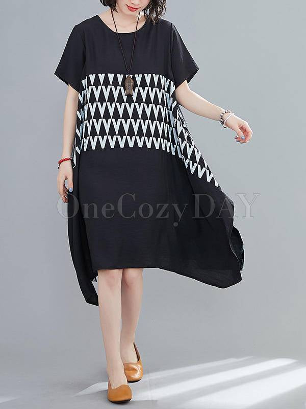 Loose Geometric Splicing Print Cropped Dress
