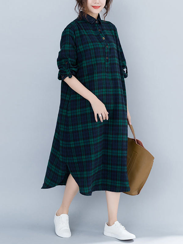Loose Plaid Split-Joint Shirt Dress