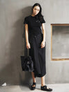 Black Cropped Wide-leg Three-quarter Pants
