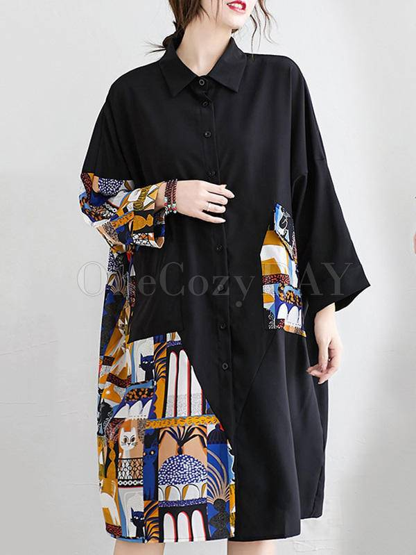 Original Cartoon Printed Round-Neck Shirt Dress