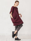 Blue&Burgundy Loose Large Pockets T-Shirt