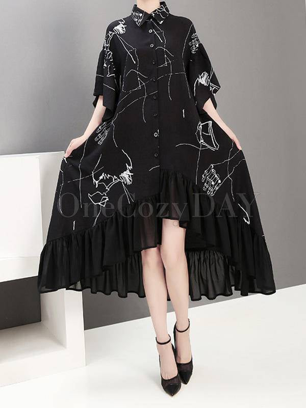Fashion Lapel Chiffon Shirt Dress