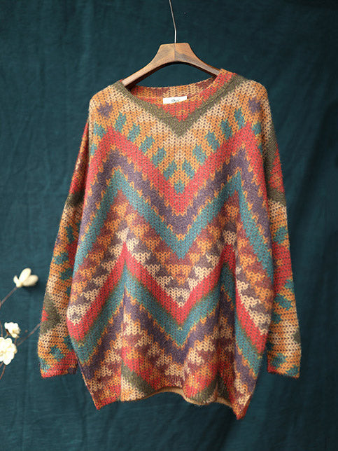 Knitting Loose Striped Colorful Sweater