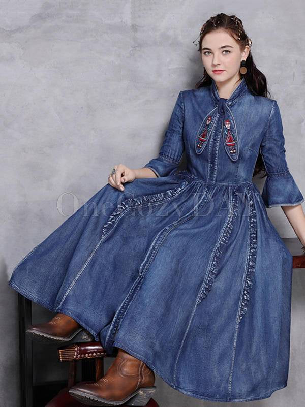 Vintage Falbala Stand Collar Jean Dress
