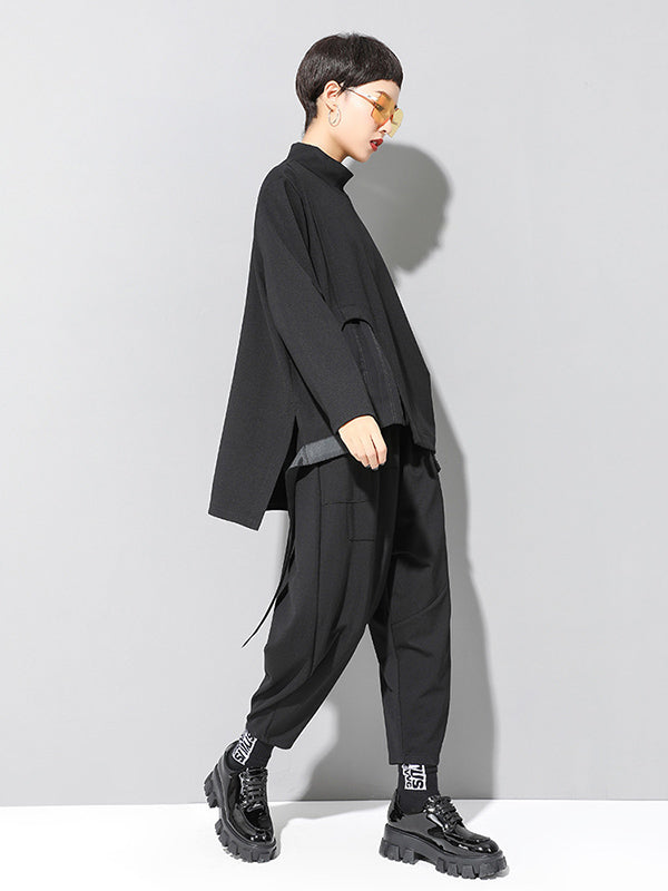 Black Loose Cropped Turtleneck Long Sleeve T-Shirt