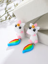 Cartoon Colorful Unicorn Polymer Clay Earrings Accessories