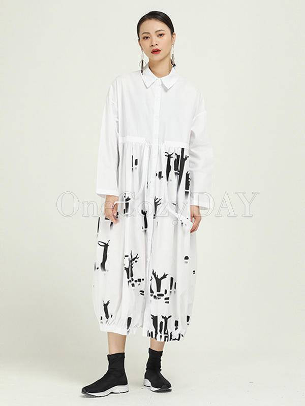 Vintage Splicing Print Drawstring Dress