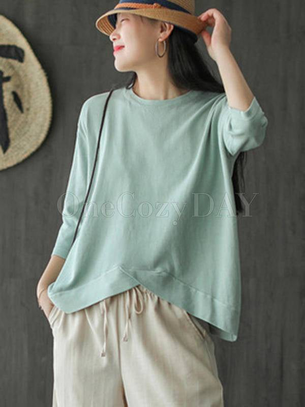Solid Color Loose Round Neck Cropped T-Shirt