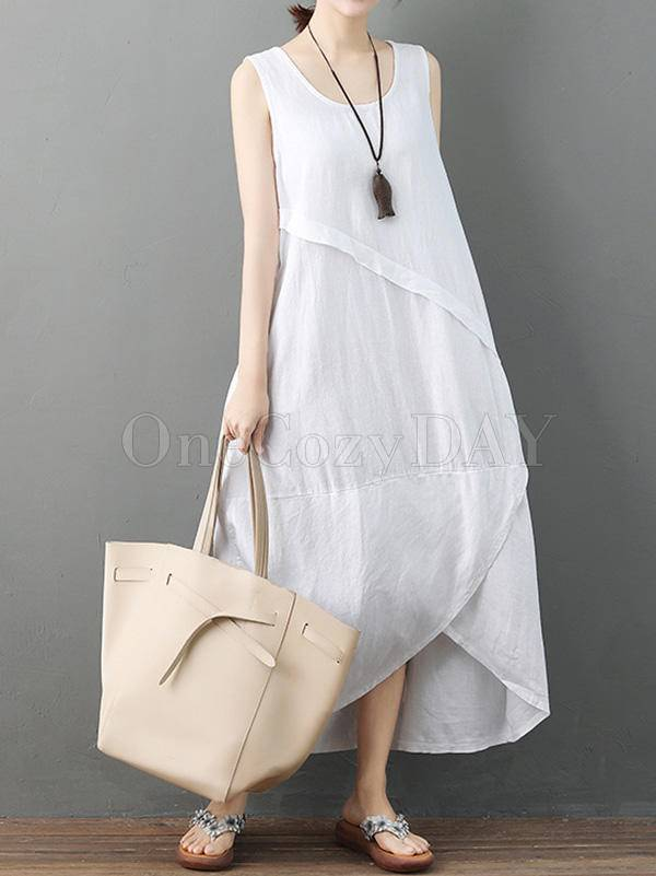 Casual Solid Cropped Sleeveless Dress