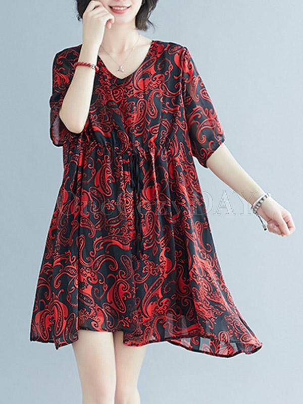 Loose Floral V-Neck Falbala Dress