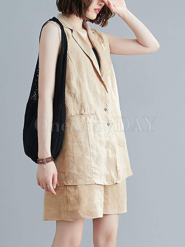 Solid Color Loose Sleeveless Vest And Shorts Suit