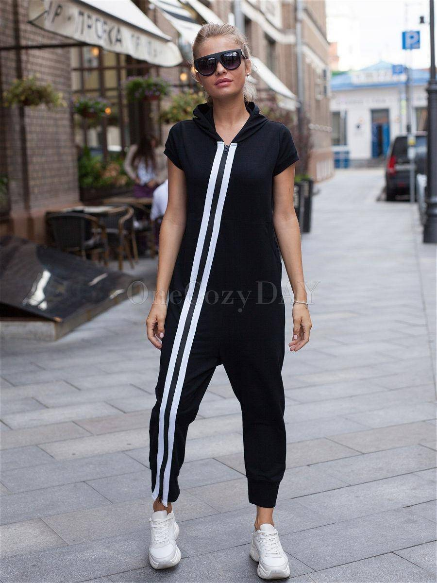 Fashion Stripes Zipper Hooded Jumpsuits