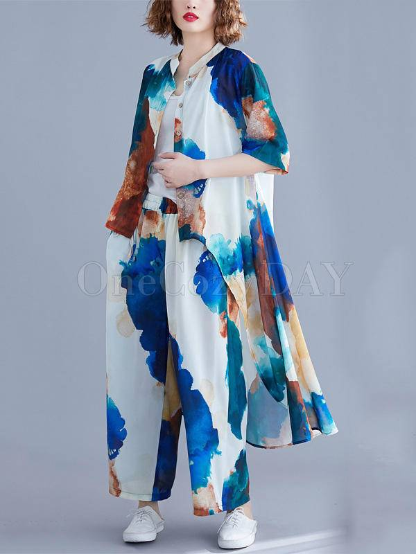 Printed Loose Cropped Hemline T-Shirt And Pants Suits