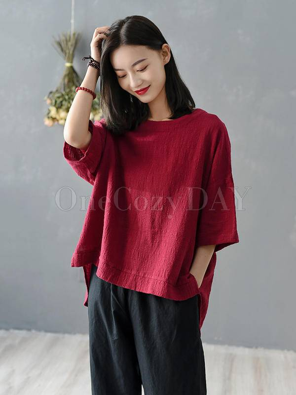 Solid Color Loose High-Low Round Neck Splicing T-Shirt