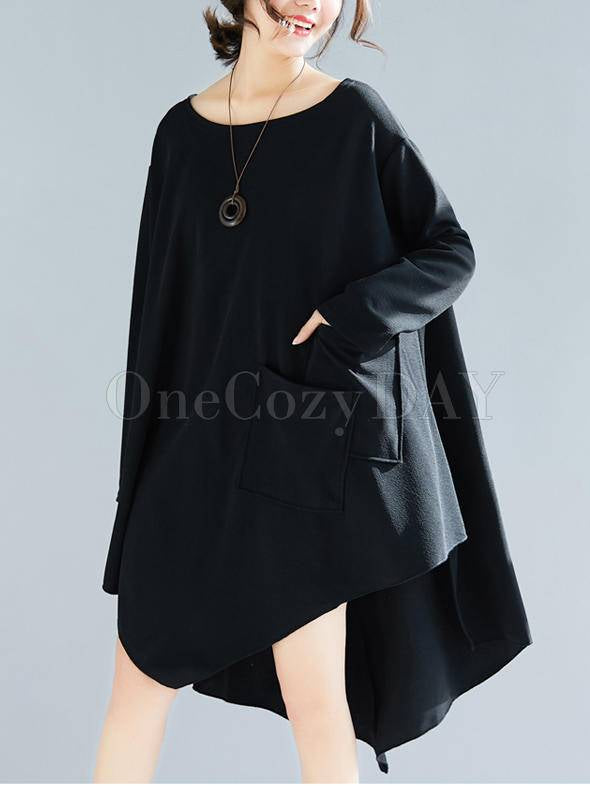Loose Cropped A-Line Shirt Dress