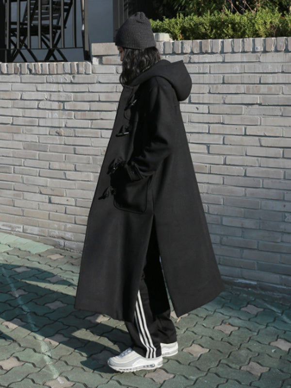 Black Button Split-side Long Overcoat