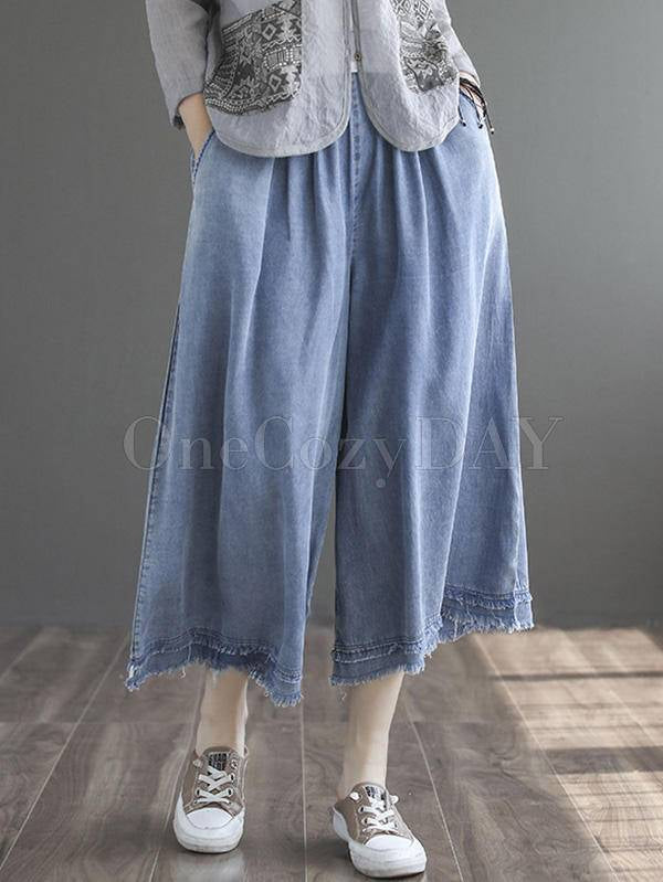 Artistic Fringed With Pocket Wide Leg Jean Pants Bottoms