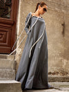 Simple Gray Split-joint Lace-up Maxi Dress