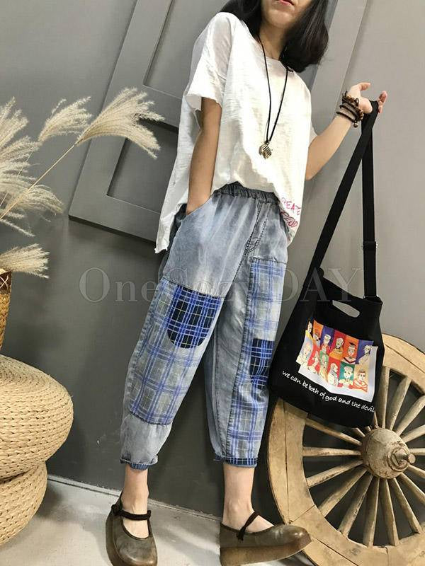 Plaid Splicing Loose Jean Cropped Harem Pants