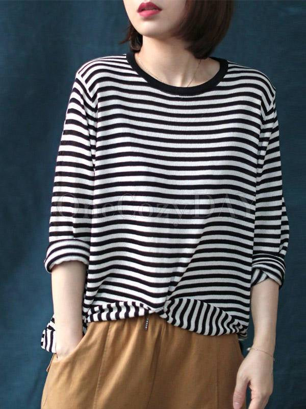 Loose Casual Striped Cropped High-Low Round Neck T-Shirt