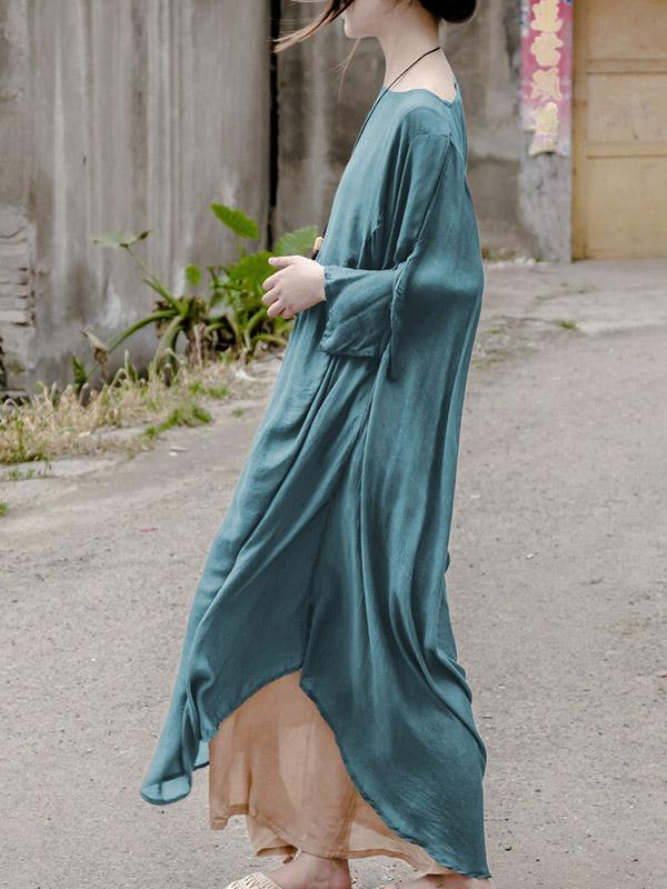 Loose Soft Silk Long Dress
