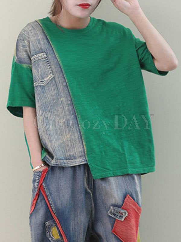 Loose Jean Splicing Round Neck T-Shirt