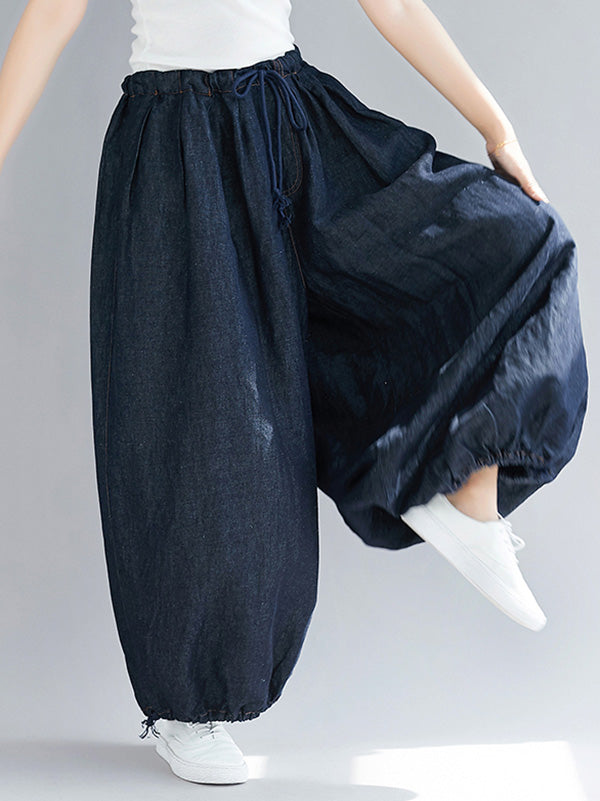 Loose Blue Bloomers Pants