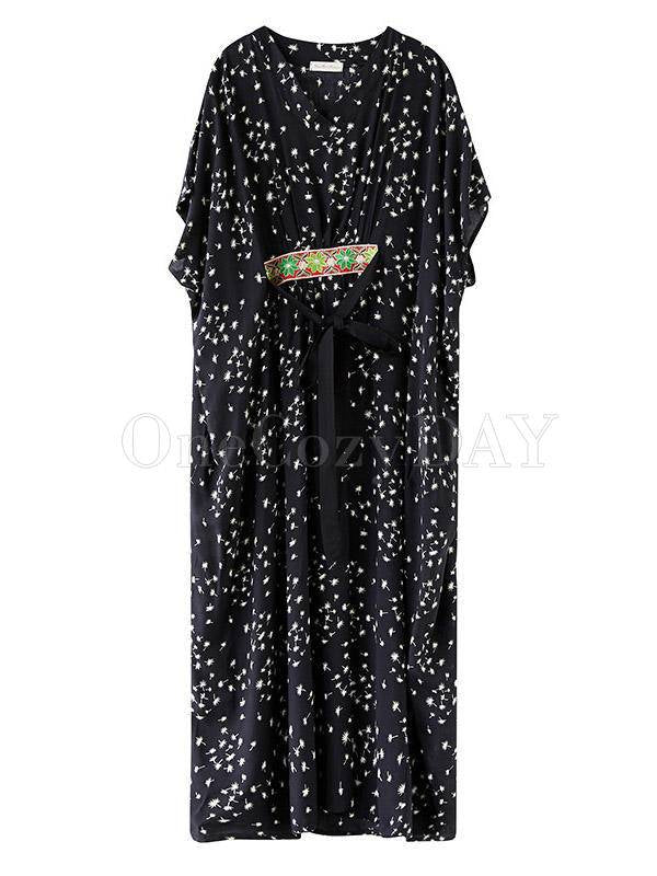 Ethnic Style Loose Plus Size Polka-Dot V-Neck Dress