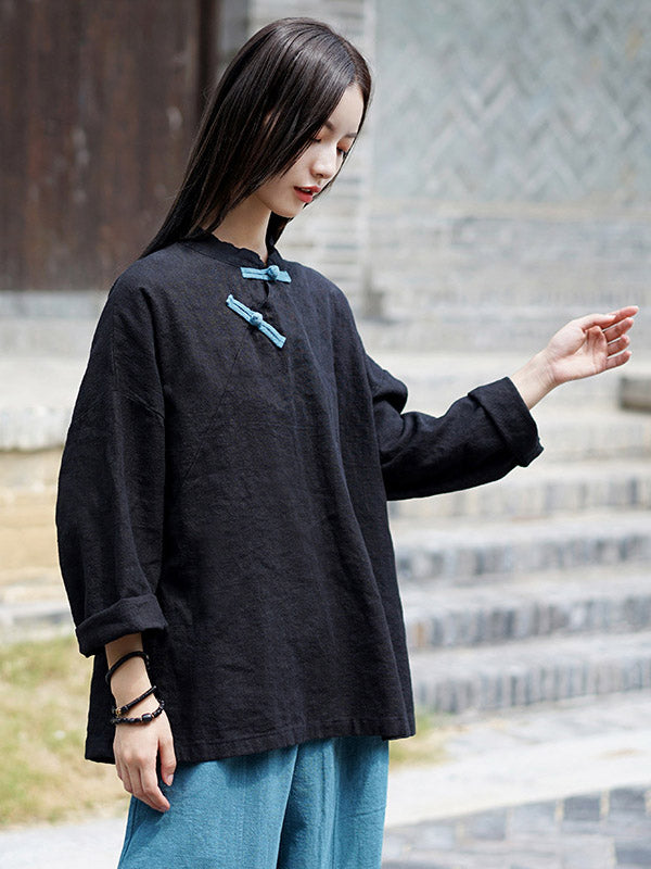 National Style Button Linen Shirt