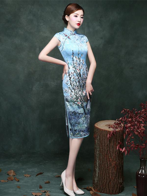 Blue Plum Blossom Short Cheongsam Dress