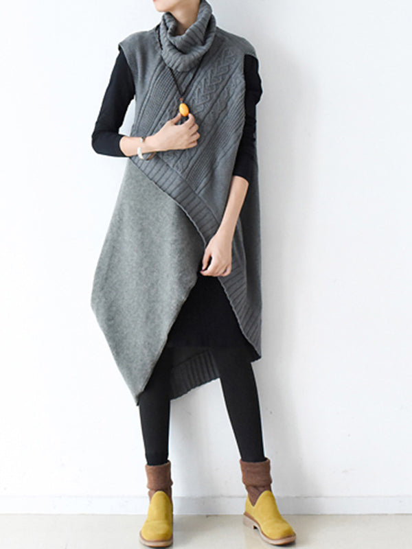 Casual Vintage Knitting High-Neck Sleeveless Dress