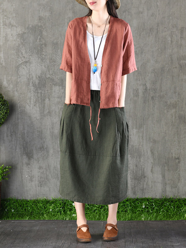 Casual Cotton Pocket Skirt