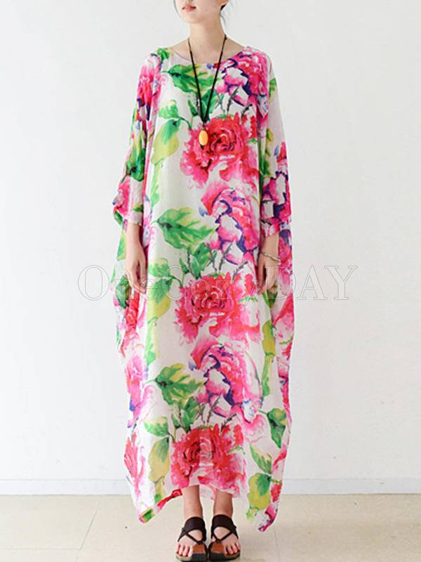 Ethnic Style Floral A-Line Loose Seven-Quarter Sleeve Long Dress