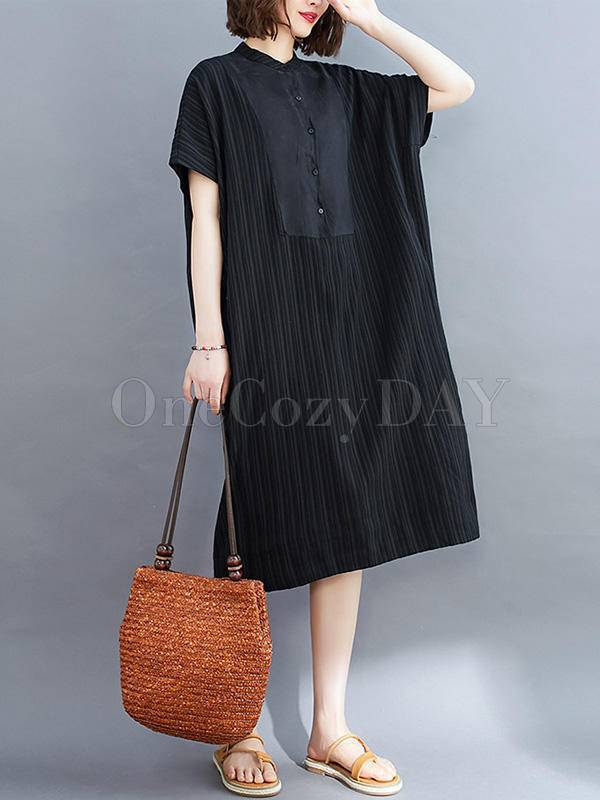 Loose Striped Split-Joint Midi-Dress