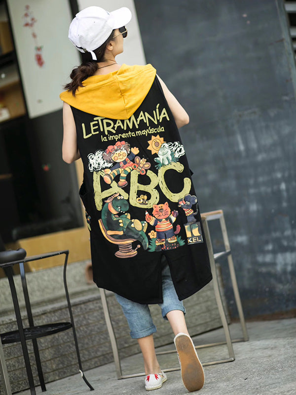 Retro Cartoon Print Sleeveless Hooded Vest Coat