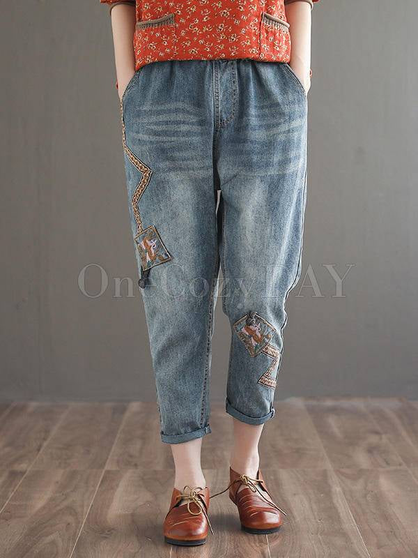 Vintage Ethnic Style Embroidered Eighth Jean Pants