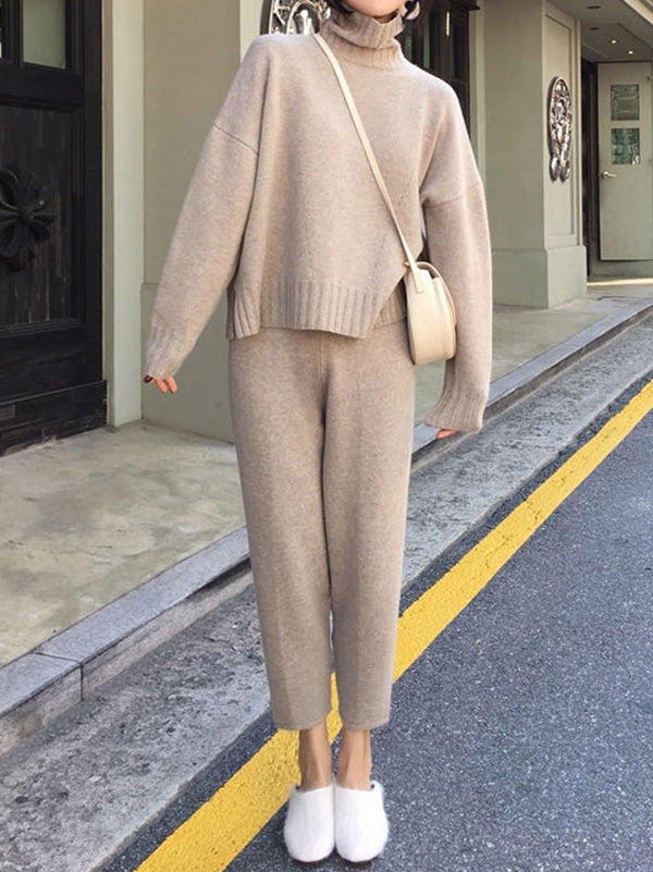 Two-Pieces Knitting Sweater Wide-Leg Pants Sets